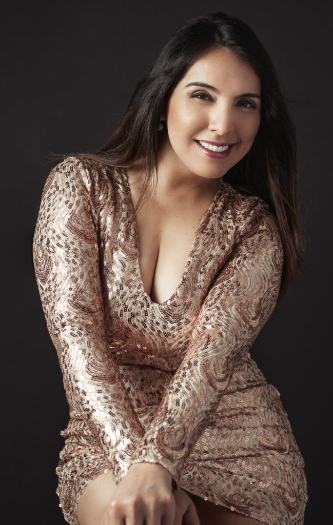 LATINA WOMEN IN SPARKLE DRESS PORTRAIT